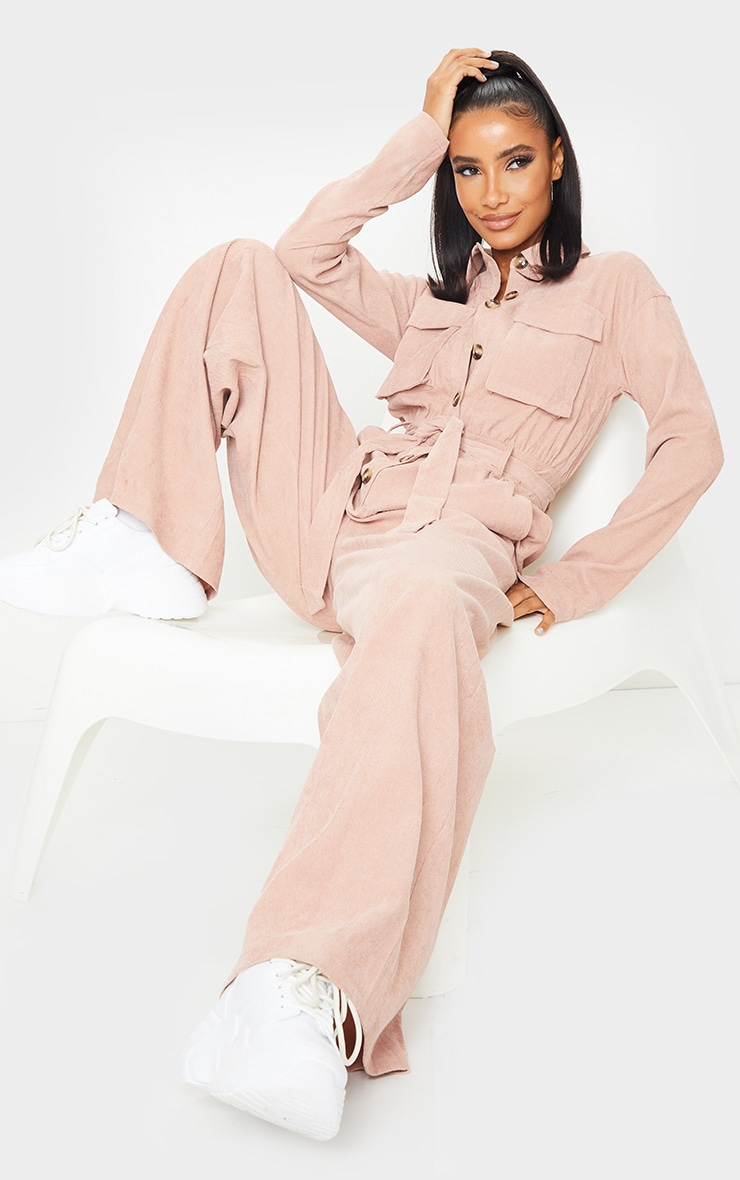 Blush Cord Pocket Detail Utility Jumpsuit 1