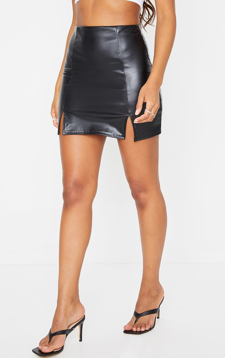 Black Faux Leather Split Hem Mini Skirt 2