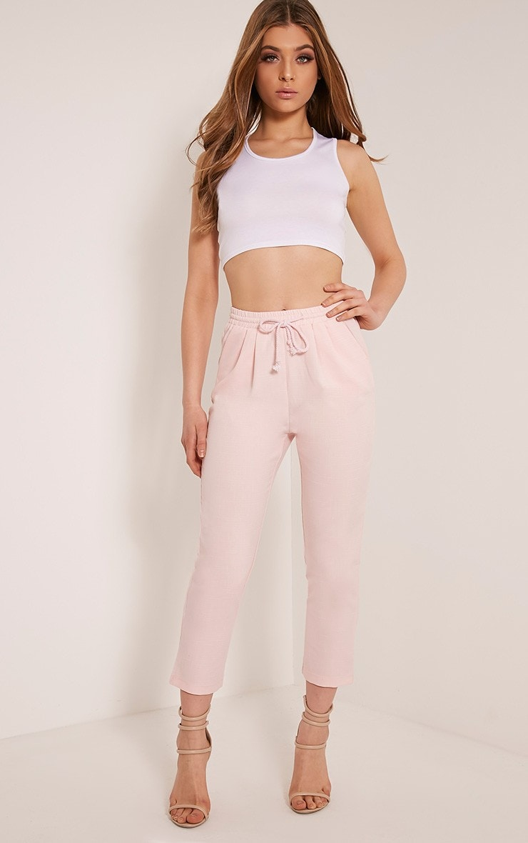 Petite Diya Baby Pink Cropped Trousers 1
