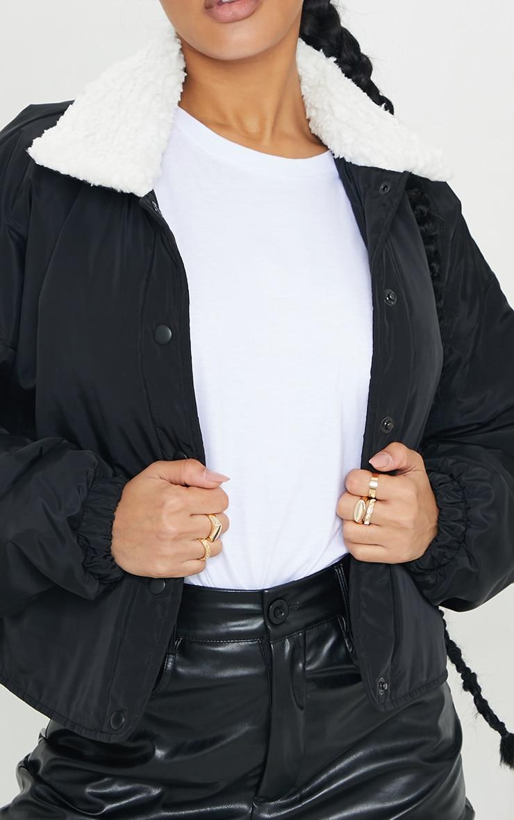 Veste bomber noir à col faux mouton 4