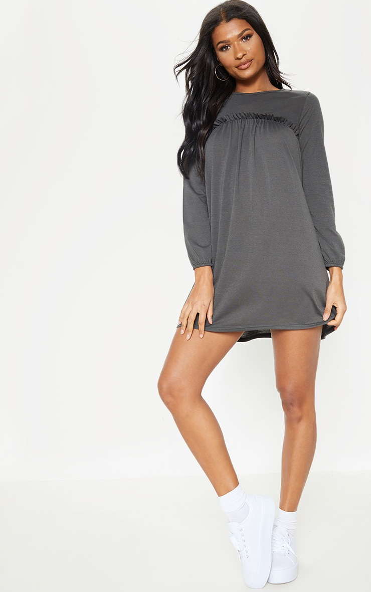 Charcoal Frill Long Sleeve Smock Dress 3