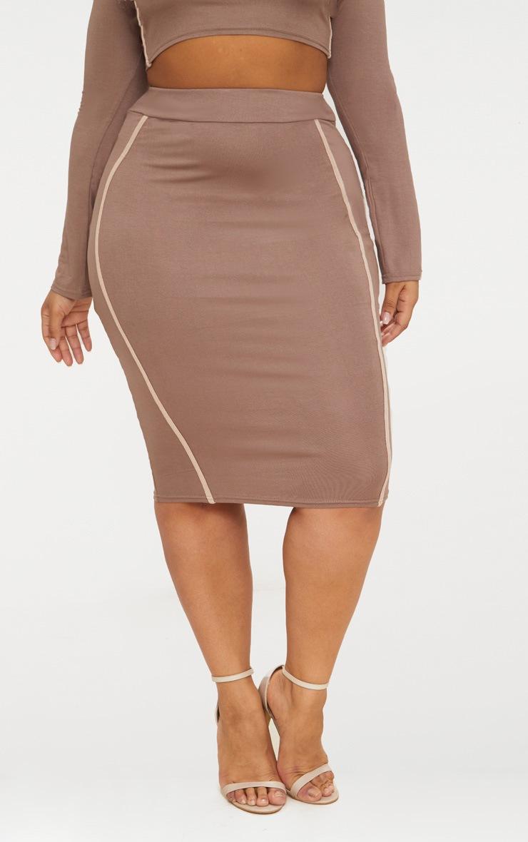 Plus Dark Mauve Side Stripe Midi Skirt 2