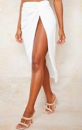 White Woven Knot Waist Split Leg Midaxi Skirt 2