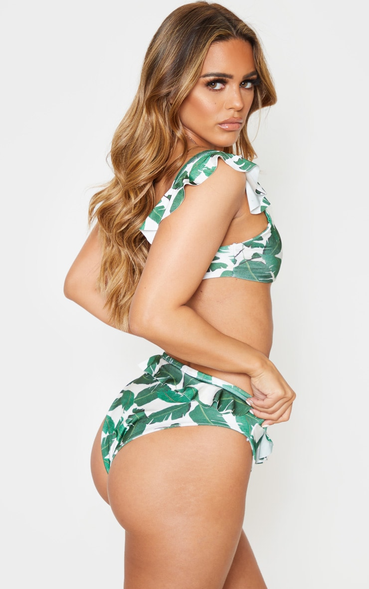 Petite Green Leaf Print Frill Detail High Waist Bikini Bottom  2