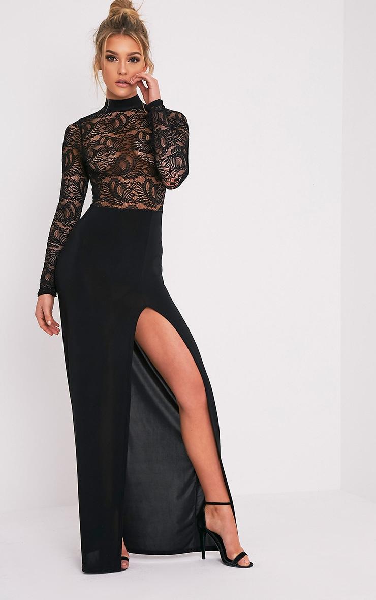 Maisie Black Lace Top Split Side Maxi Dress 5