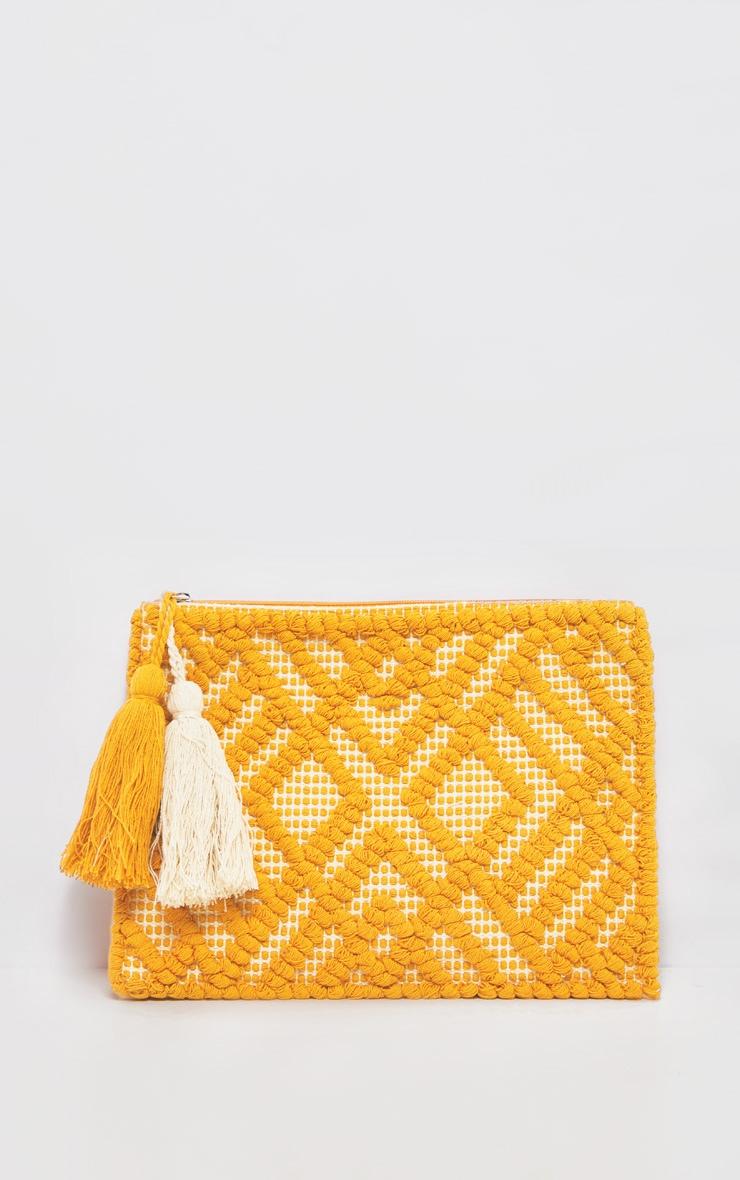 Orange Cotton Tassel Detail Clutch Bag 2