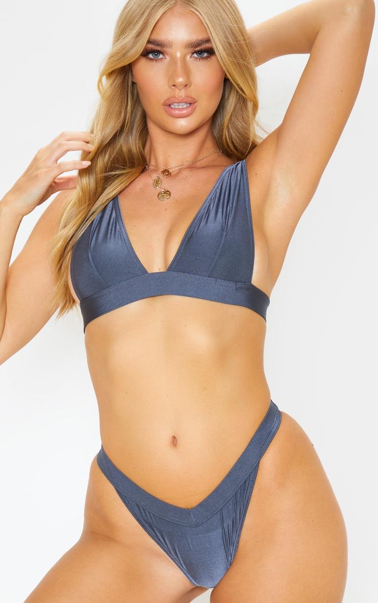 Charcoal Plunge Elasticated Bikini Top 1