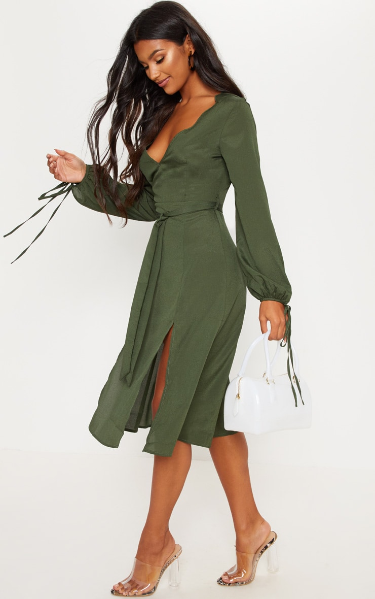 Forest Green Tie Waist Split Midi Dress 4