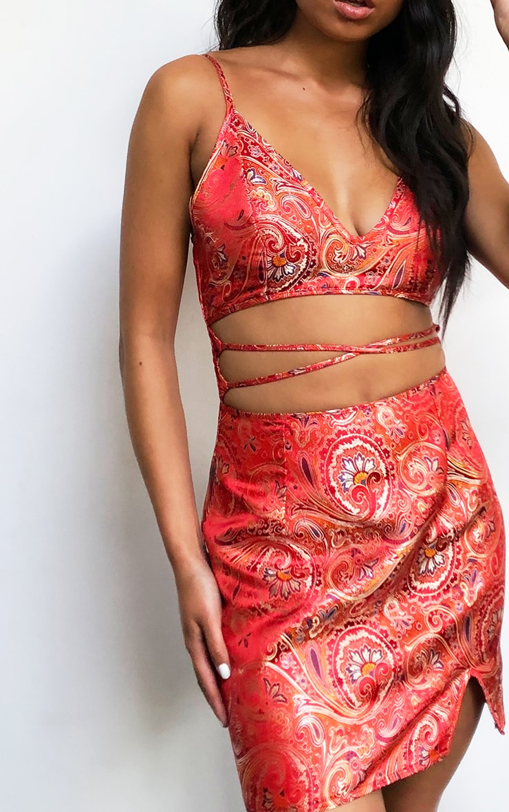 Red Jacquard Strappy Cut Out Detail Bodycon Dress 4