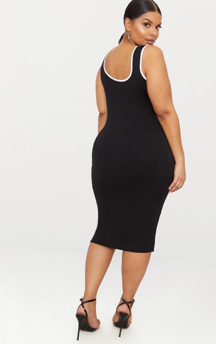 Plus Black Contrast Square Neck Midi Dress 2