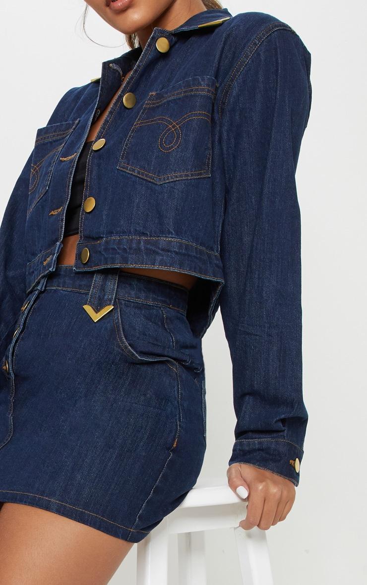 Mid Wash Tip Western Denim Jacket 5