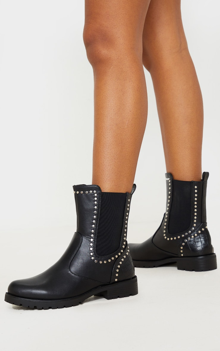 Black Studded Chelsea Cleated Biker Boot 2