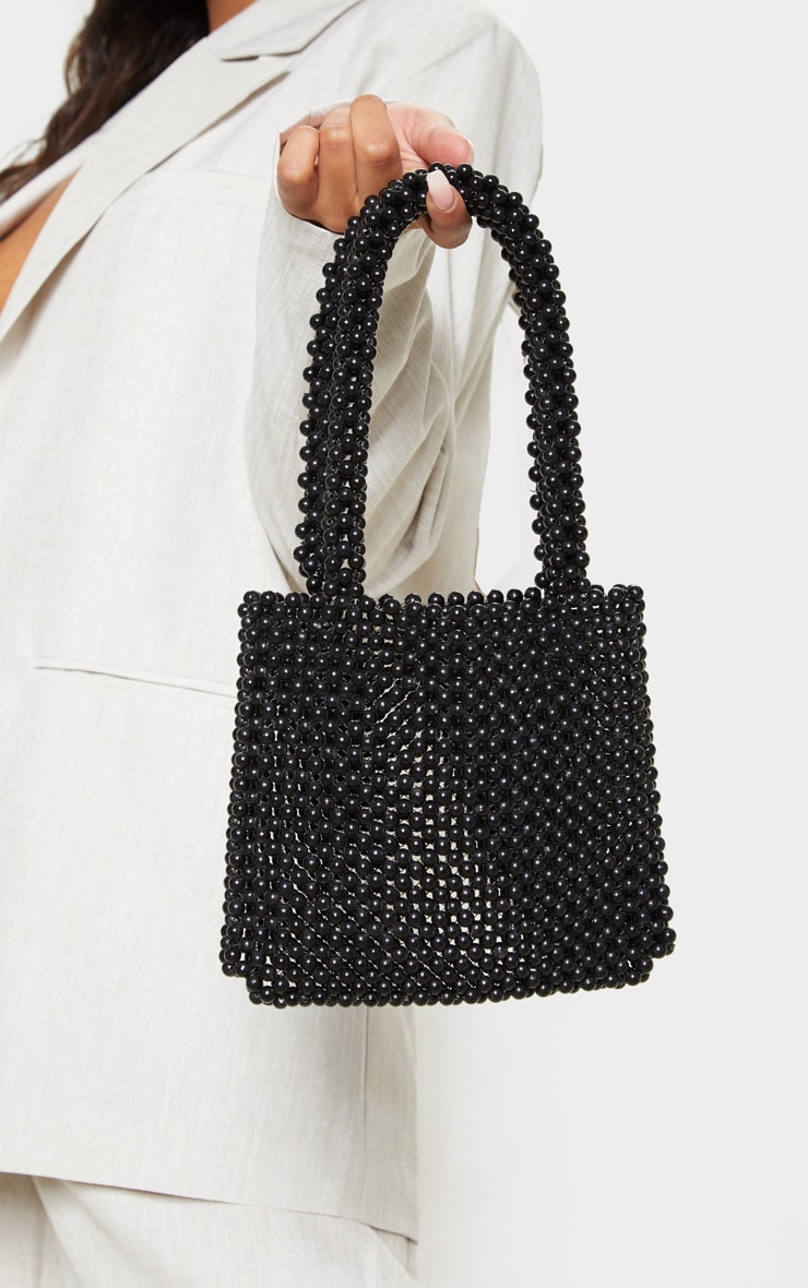 Black Beaded Rectangle Mini Bag 1