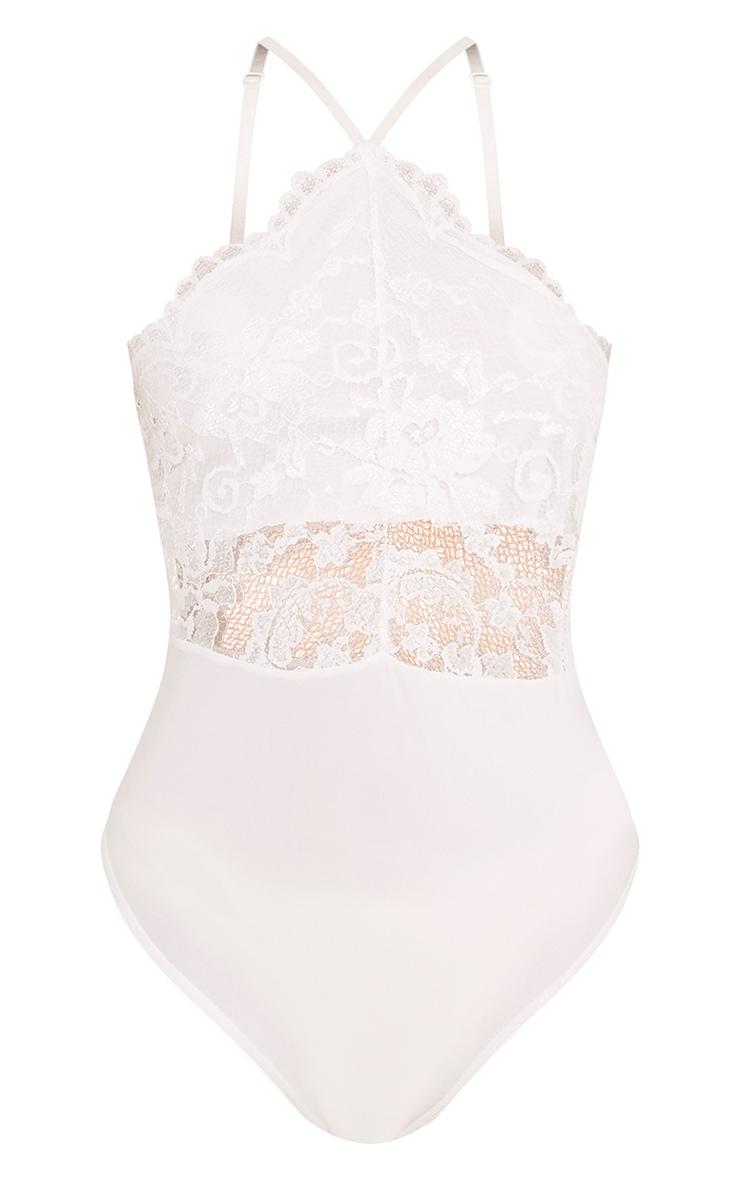 Cream Scallop Lace Thong Bodysuit 3