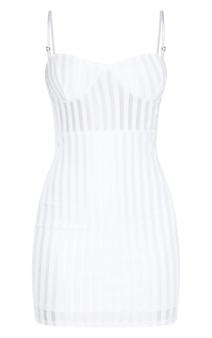 White Strappy Cup Detail Striped Bodycon Dress 3
