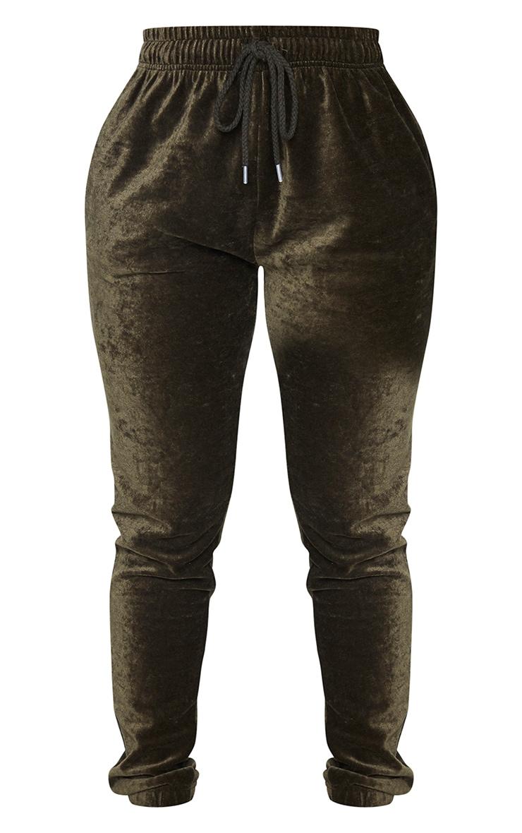 PRETTYLITTLETHING Shape Khaki Velour Skinny Joggers 5