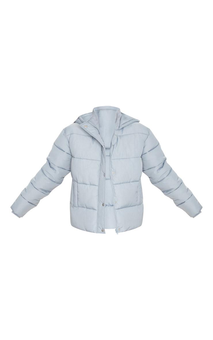 Light Grey Peach Skin Hooded Puffer Jacket 5