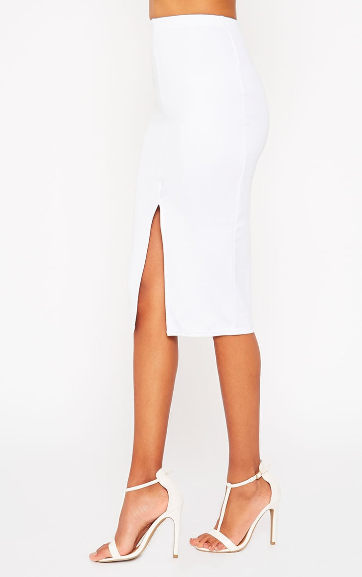 Siva White Split Front Scuba Midi Skirt 3