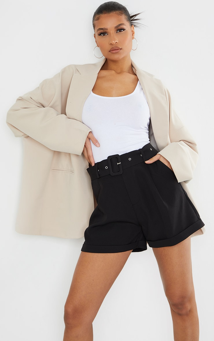 Black Woven Belted Tailored Shorts 4