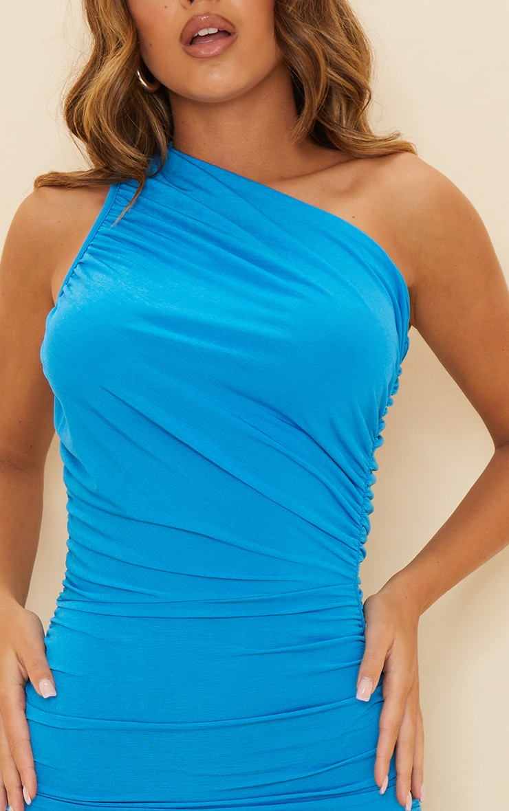 Blue Slinky Ruched One Shoulder Bodycon Dress 4