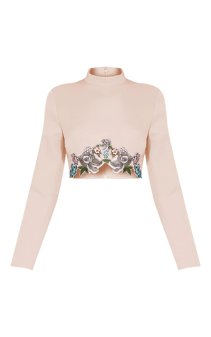 Angie Petite Nude Floral Embroidered Crop Top 3