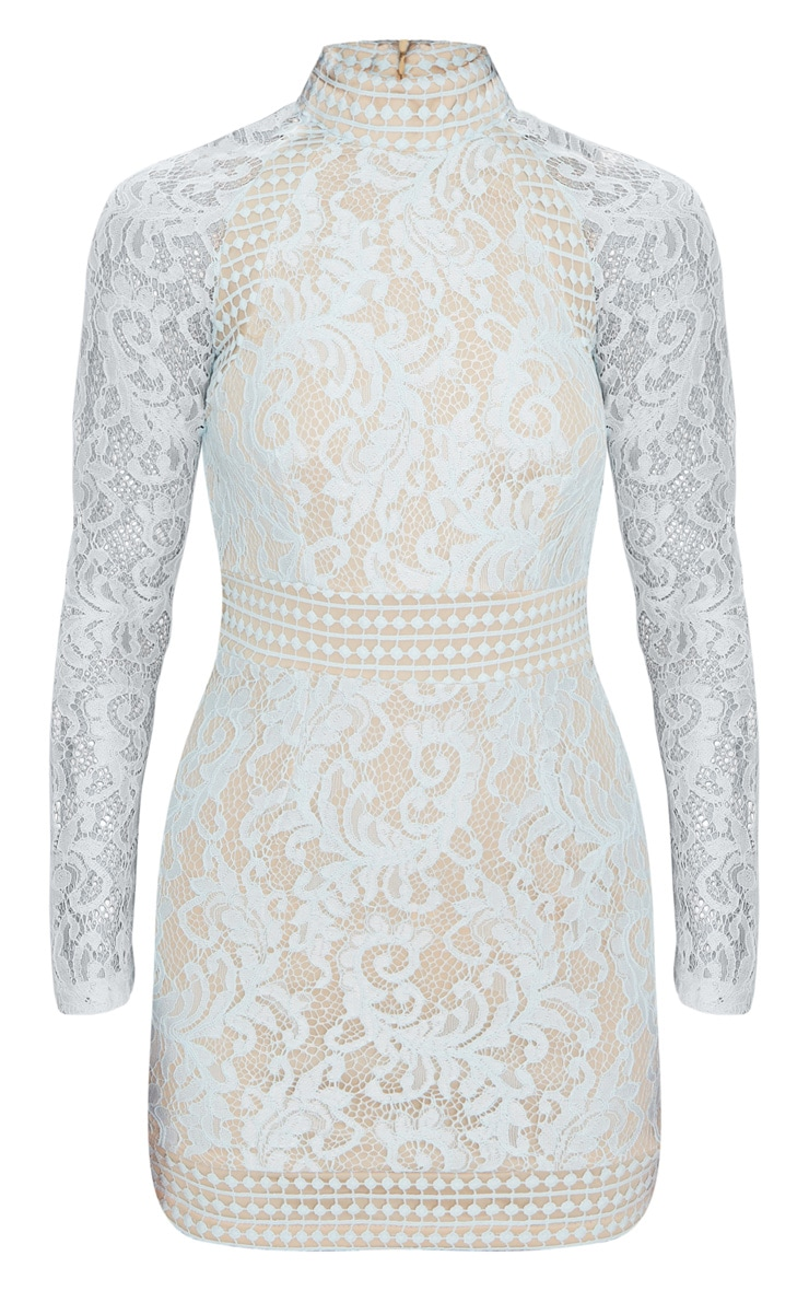 Isobel Dusty Blue Lace High Neck Bodycon Dress 3