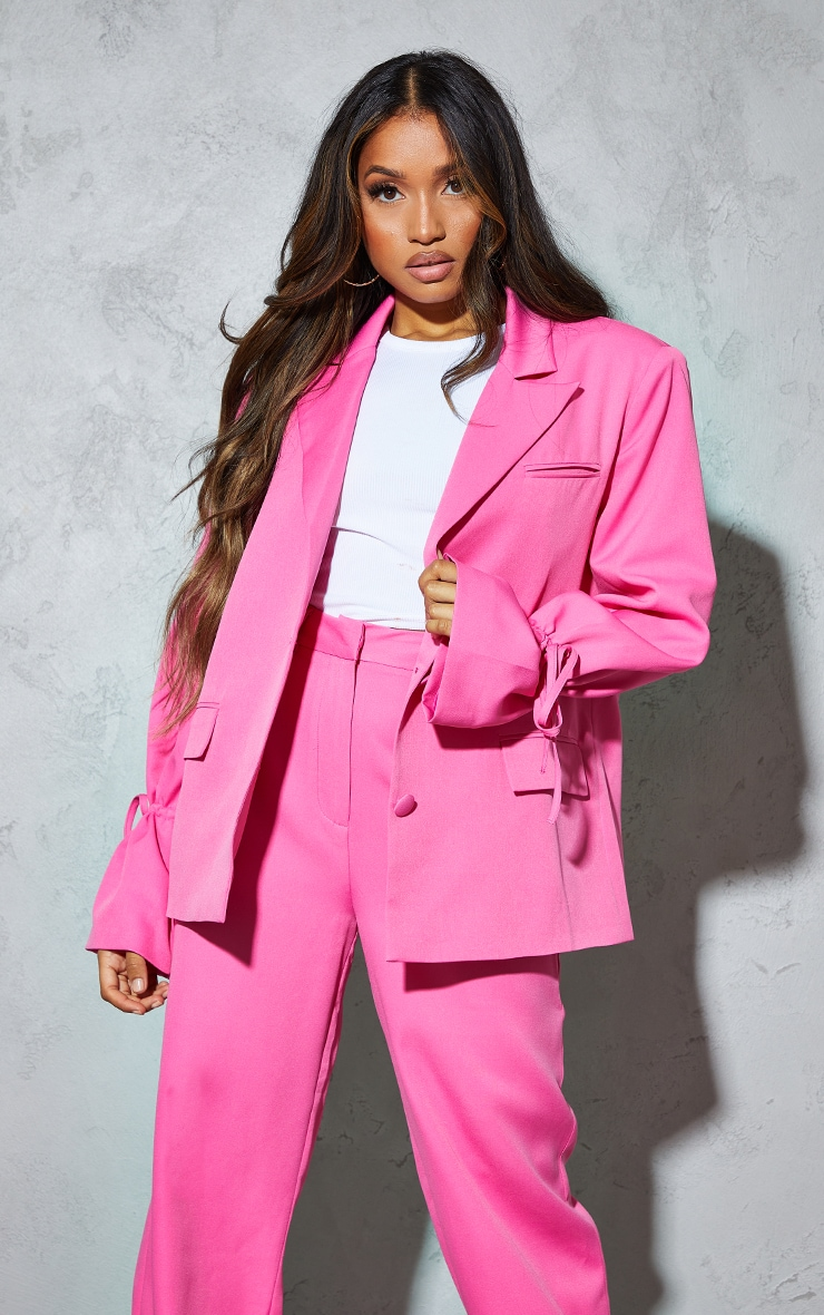 Petite Pink Oversized Tie Cuff Suit Blazer 1