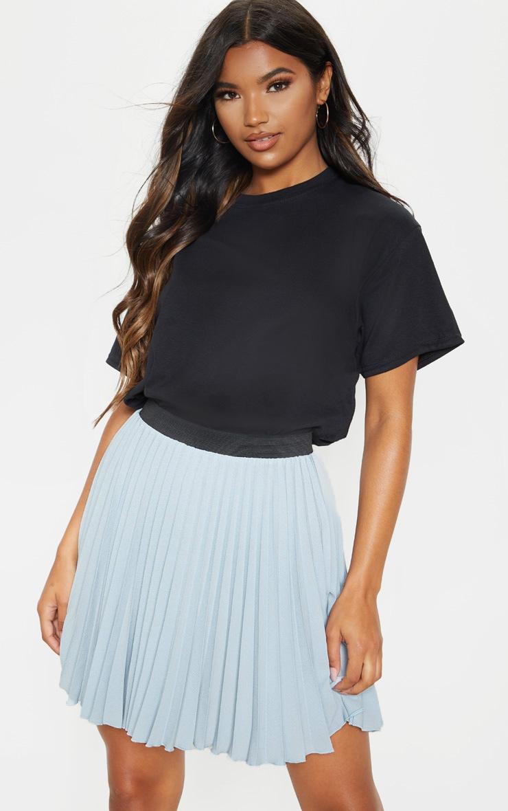 Dusty Blue  Pleated Mini Skirt 1
