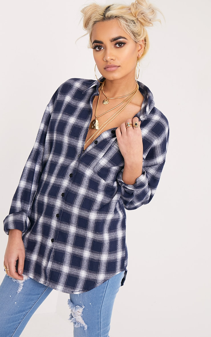 Maeve Navy Checked Applique Shirt 2
