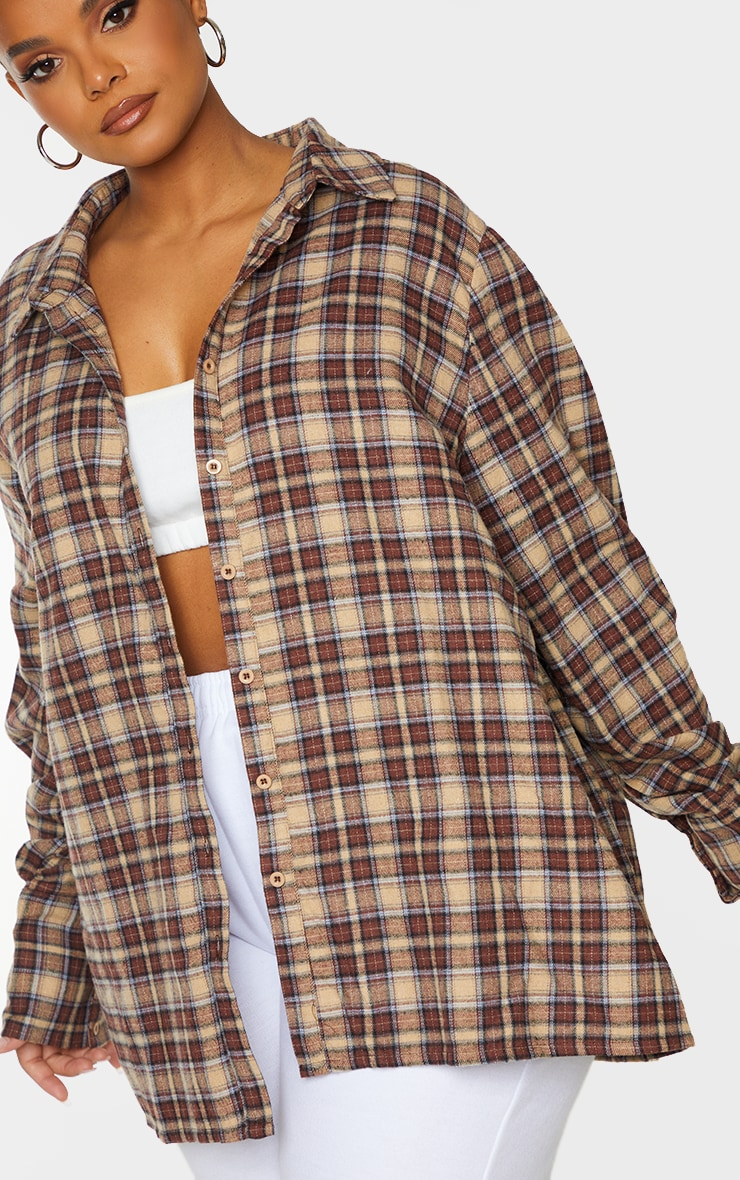 Plus Brown Checked Oversized Shirt 4