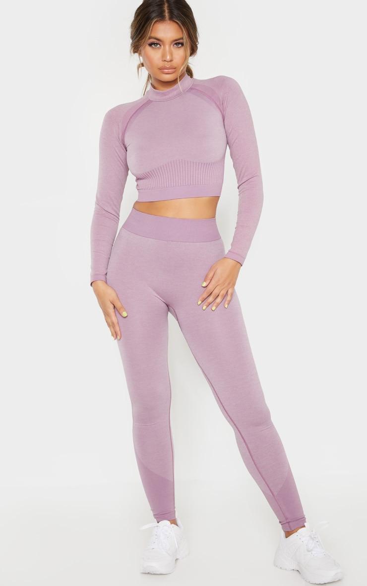Lilac Seamless Underbust Detail Longsleeve Crop Top 4