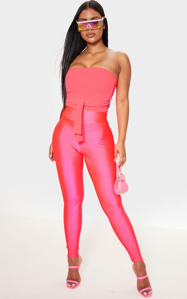 Neon Pink Crepe Tie Front Bandeau 4