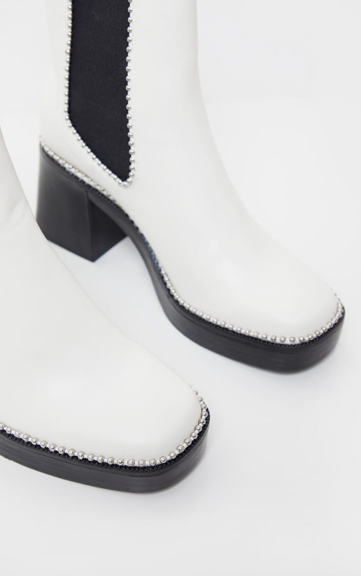 White Square Toe Chunky Block Heel Chelsea Boot 5