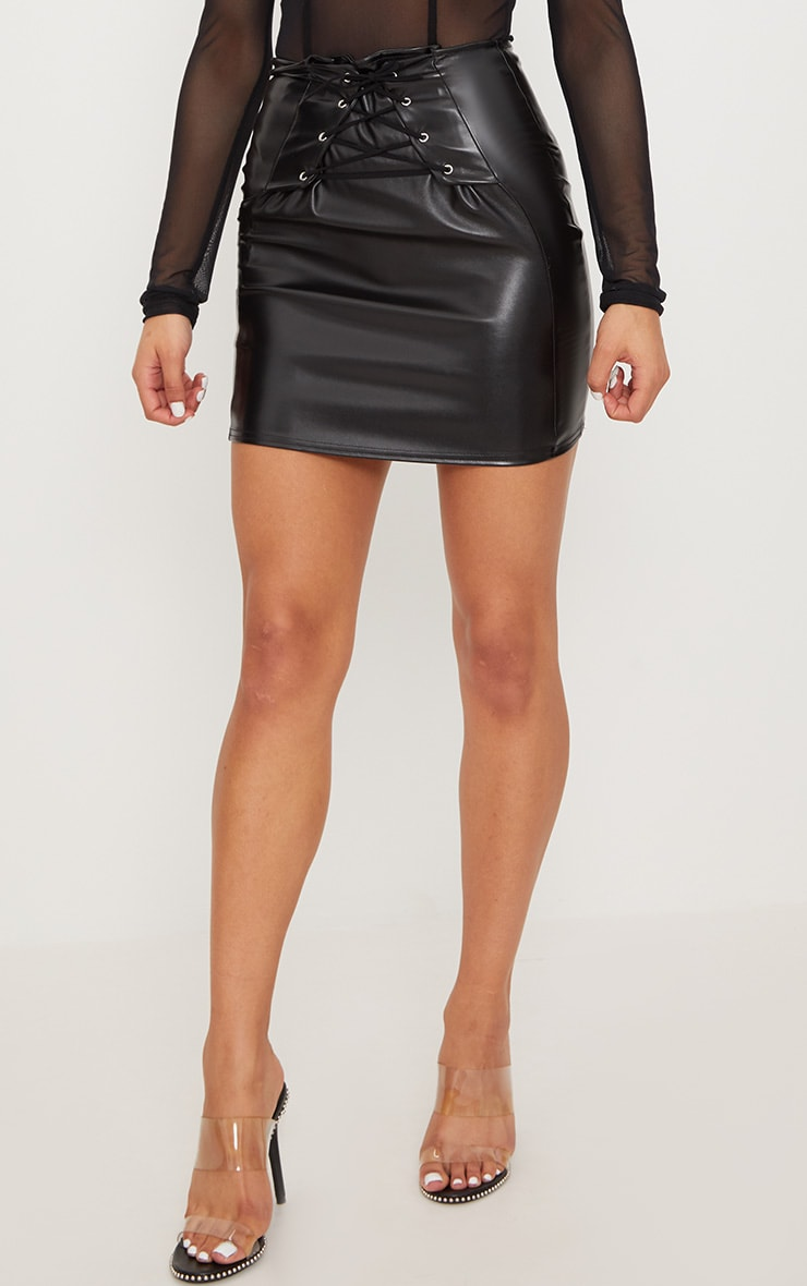 Black Lace Up Front Faux Leather Mini Skirt  2