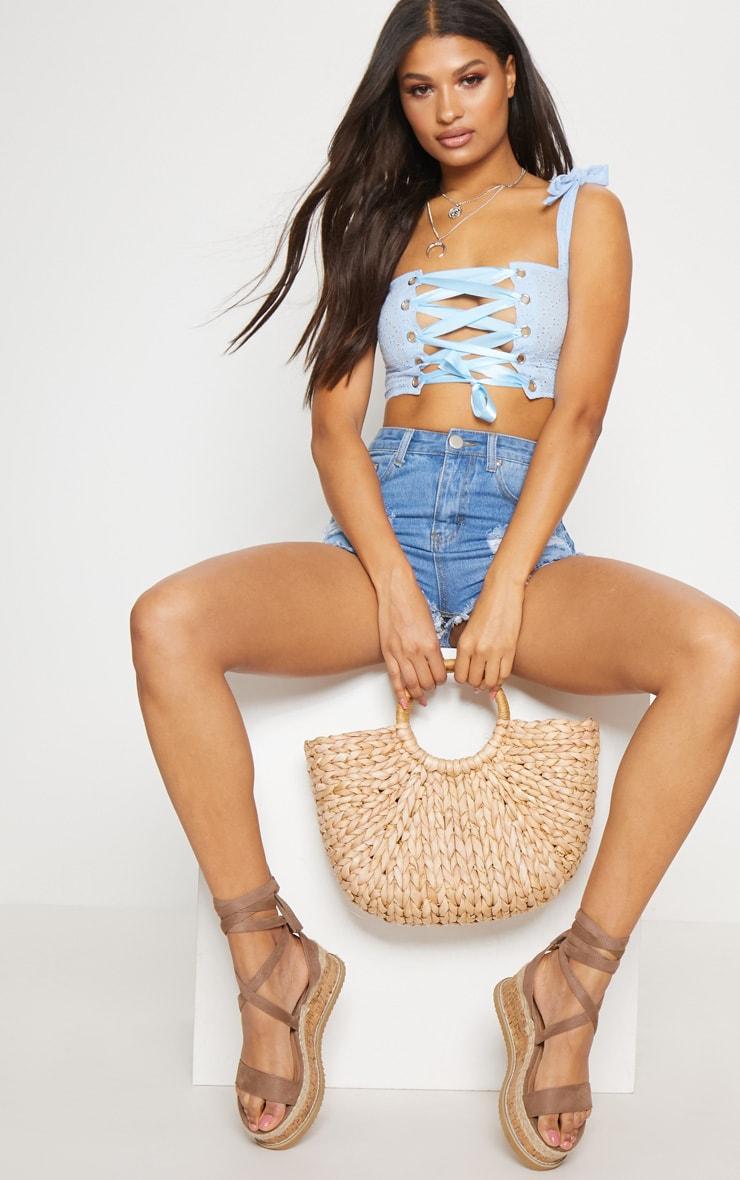 Blue Broderie Anglaise Lace up Crop Top 4