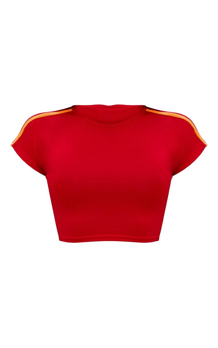 Shape Red/Orange Stripe Shoulder Crop Top 3
