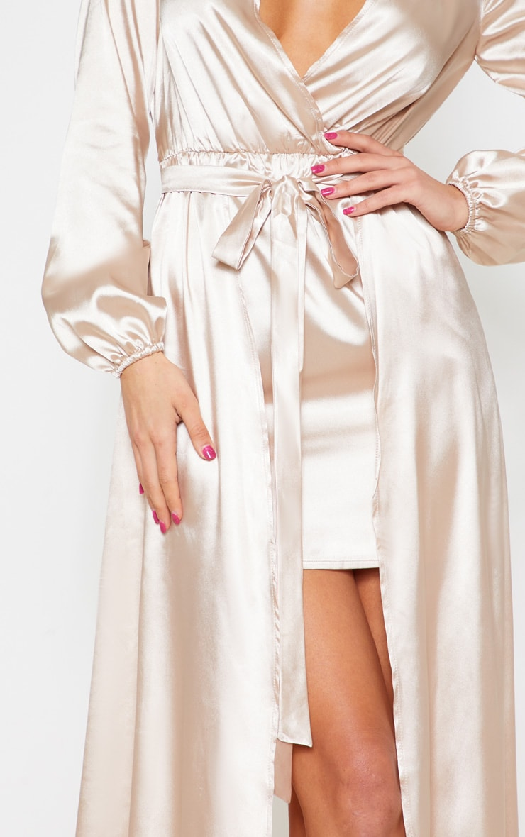 Champagne Satin Plunge 2 in 1 Maxi Dress 5