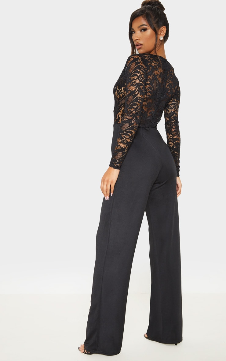 Black Lace Long Sleeve Plunge Jumpsuit 2