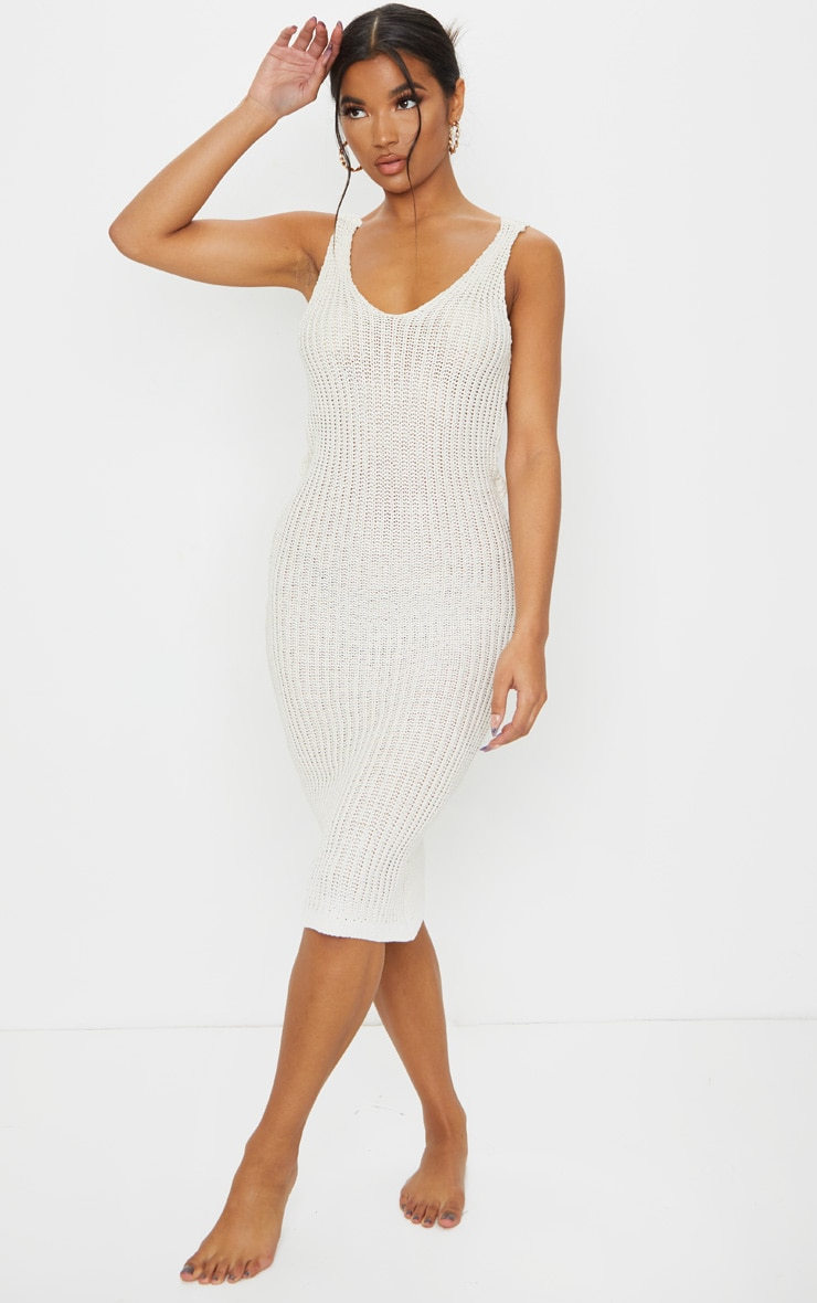 Cream Twist Back V Neck Knitted Midi Dress 2