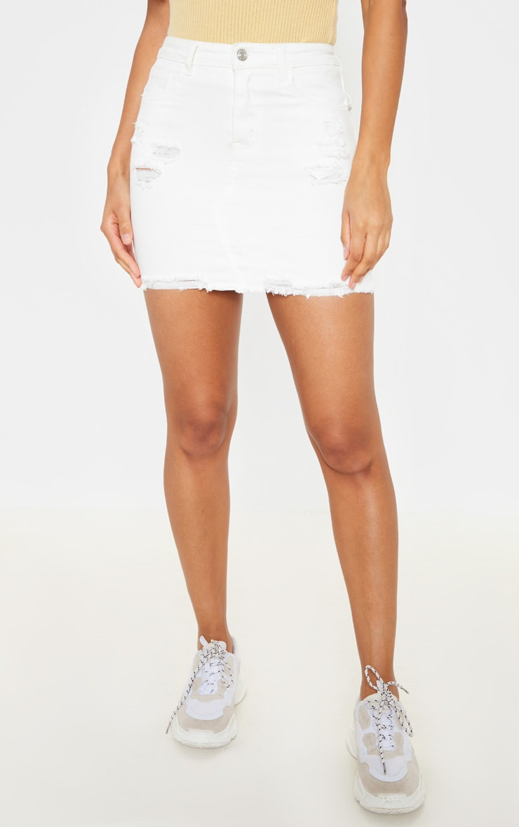 White Distressed Denim Stretch Skirt  2