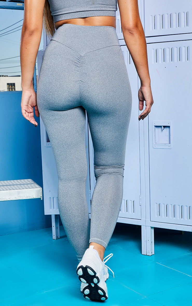 Grey Marl Mid Rise Gym Legging 4