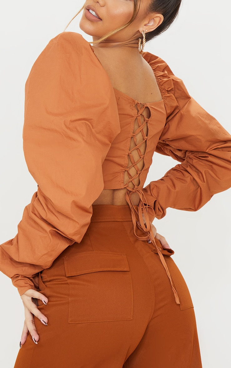 Burnt Orange Cotton Extreme Puff Ruffle Sleeve Lace Up Crop Top 4
