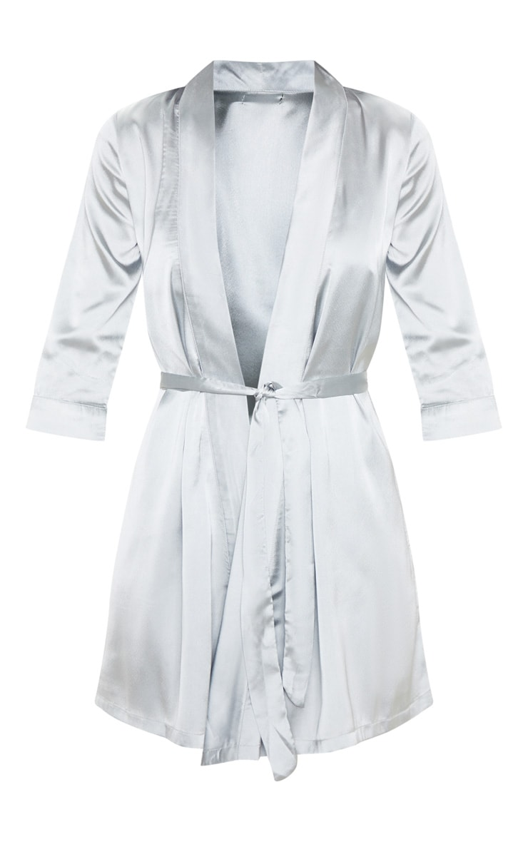 Ice Blue Plain Satin Robe 3