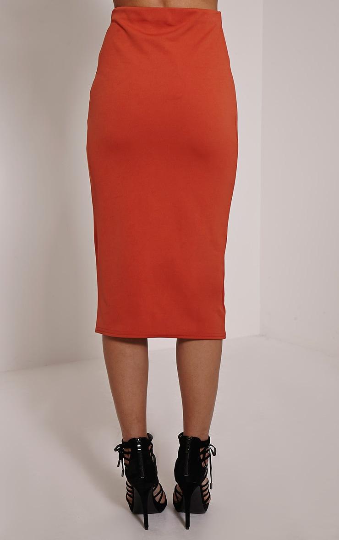 Rhian Rust Scuba Midi Skirt 3