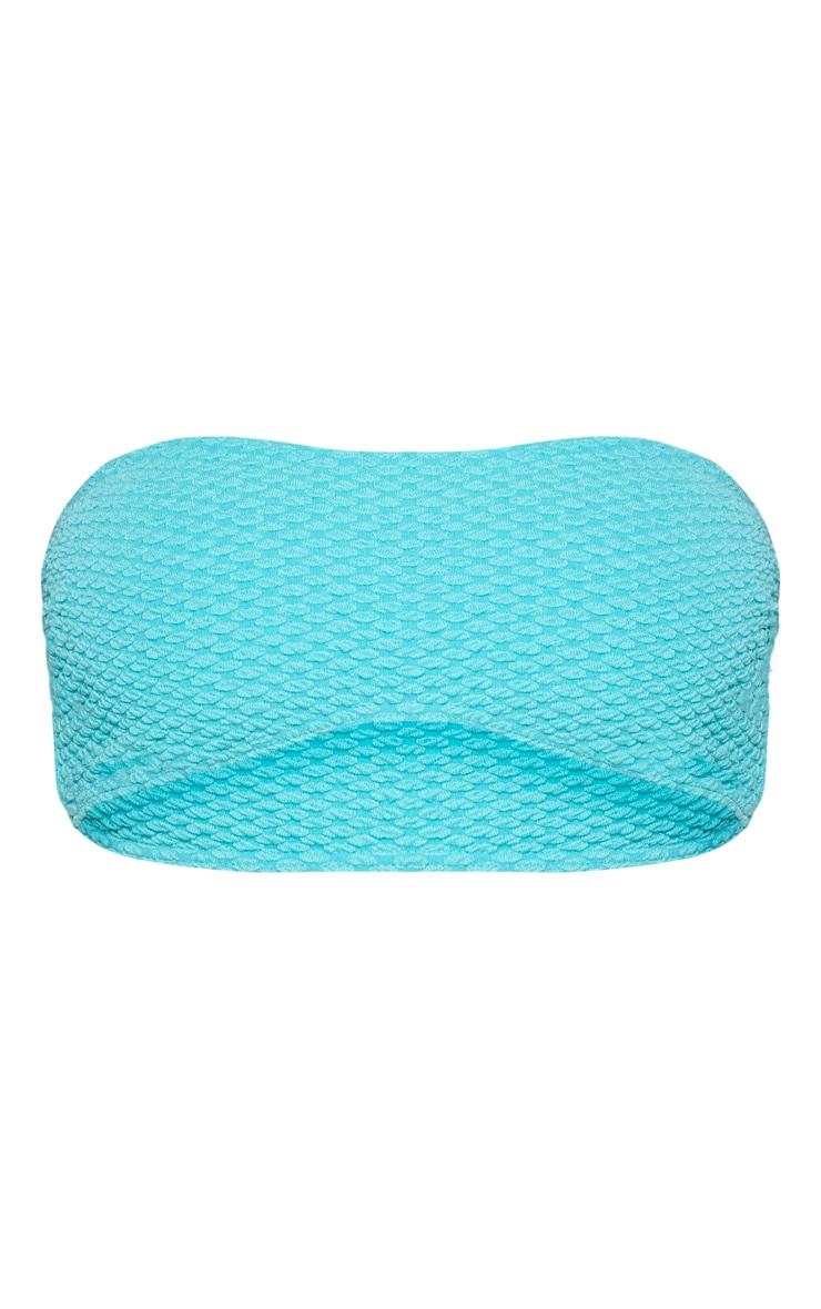Top de bikini bandeau texturé turquoise passé 6