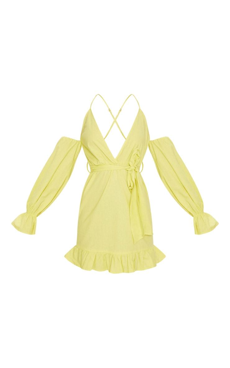 Chartreuse Frill Detail Tie Waist Shift Dress 3