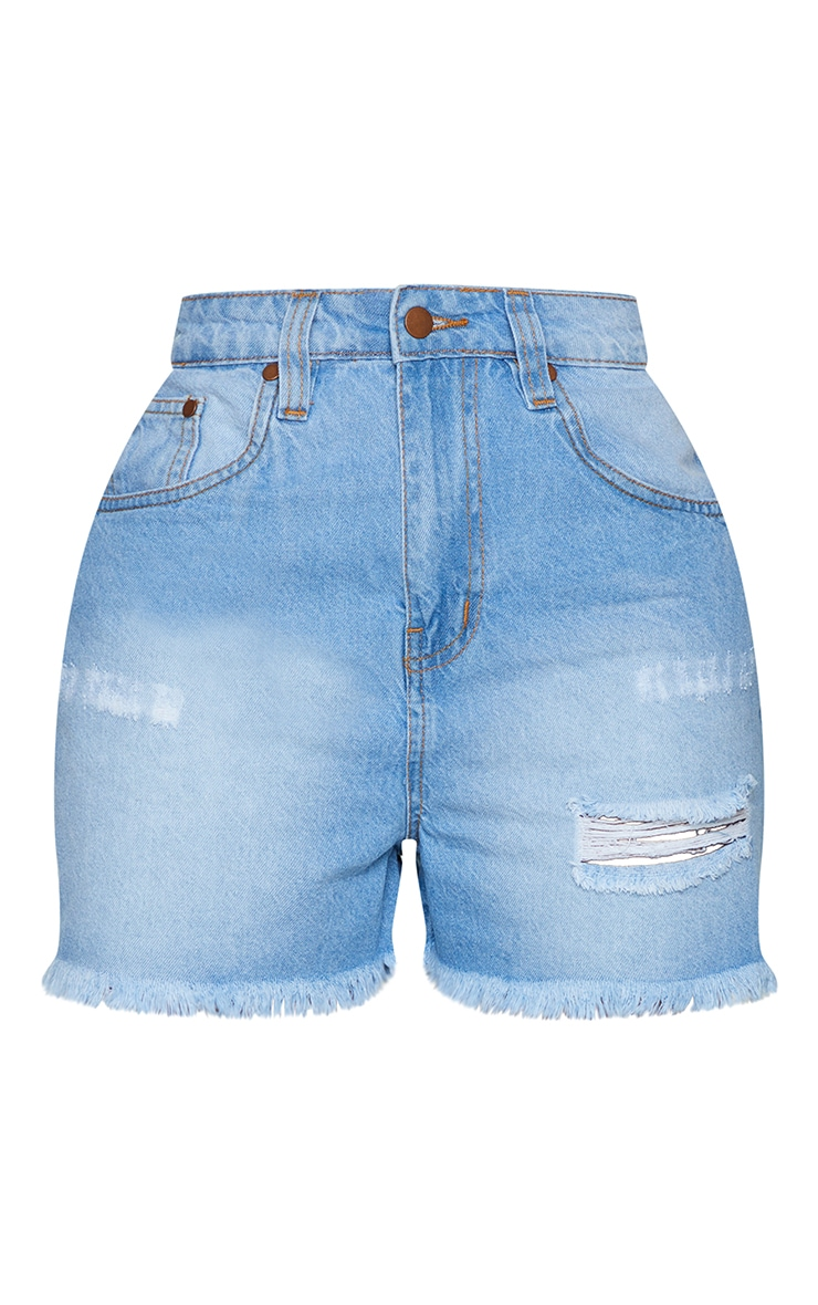Shape Light Wash High Waist Distressed Denim Skirt 6