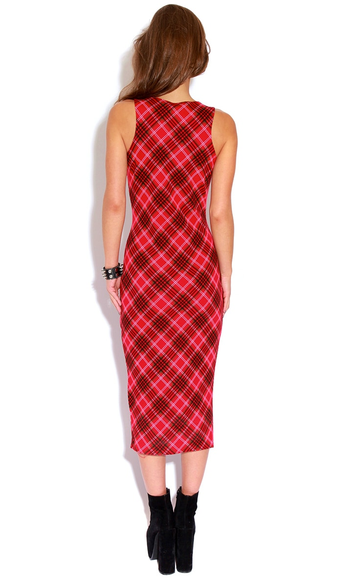 Deonn Red Tartan Sleeveless Bodycon Midi Dress 2