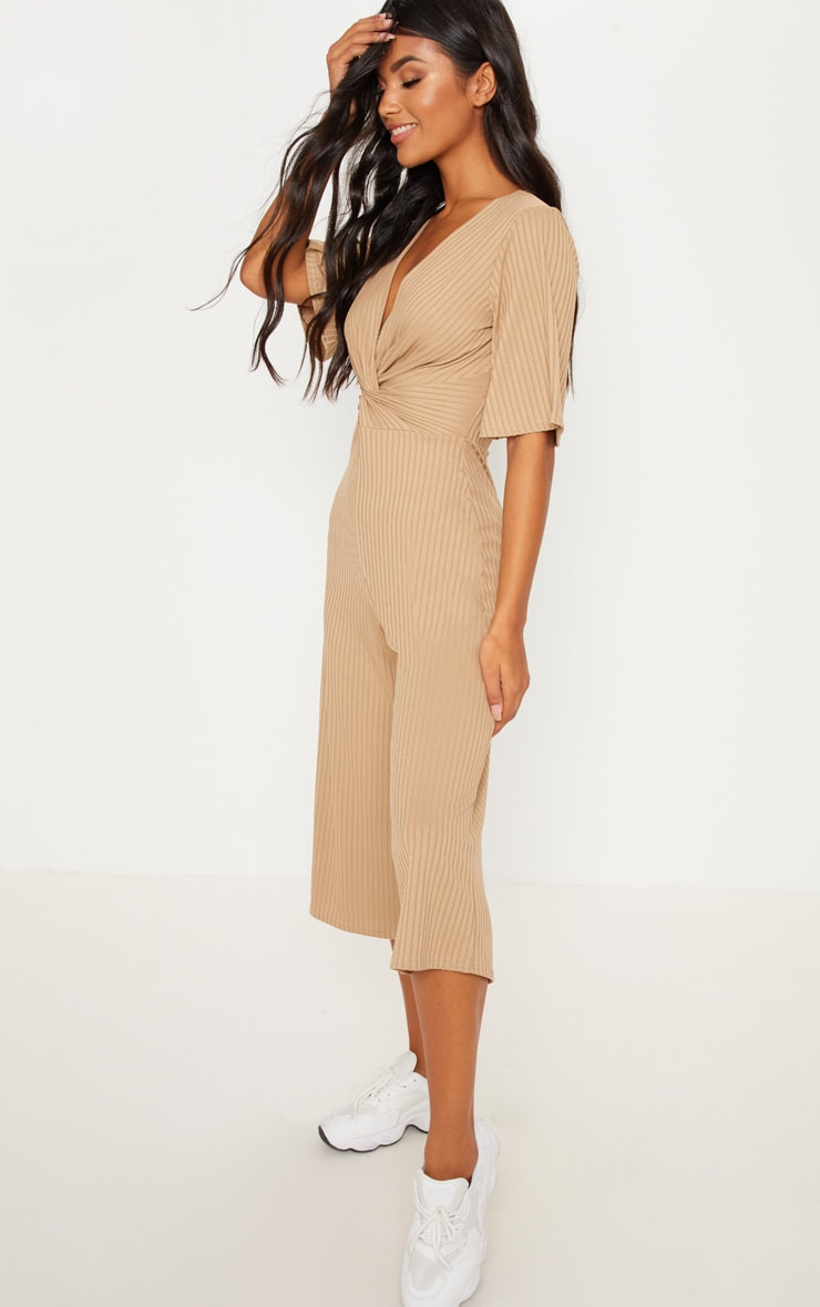 Deep Stone Ribbed Twist Detail Culotte Jumpsuit 4