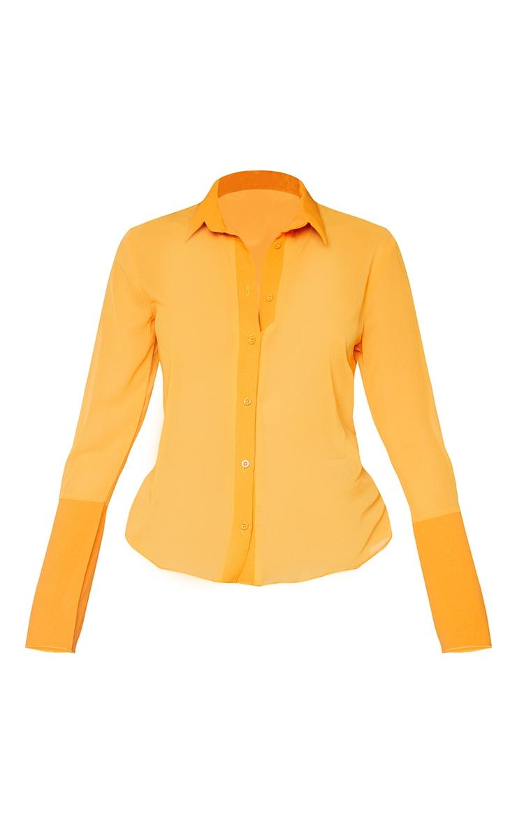 Orange Sheer Chiffon Shirt 5